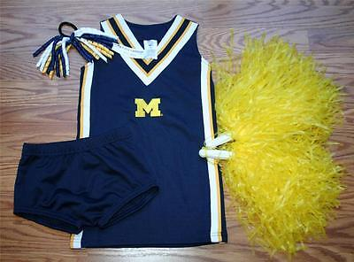 CHEERLEADER COSTUME OUTFIT HALLOWEEN MICHIGAN WOLVERINES U OF M CHEER SET 3 3T](Wolverine Outfits)