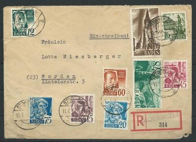 Frz. Zone Baden R-Brief Stockach - Norden, 1948 (57566