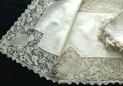 """Point de Venise Lace Embroidery Linen Tablecloth 101"""" &12 Napkins Antique FINE"""