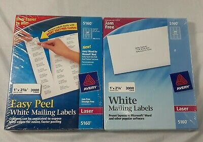 2 Pack Avery Easypeel Mailing Address Labels Laser 1 X 2 58 White 3000box 5160