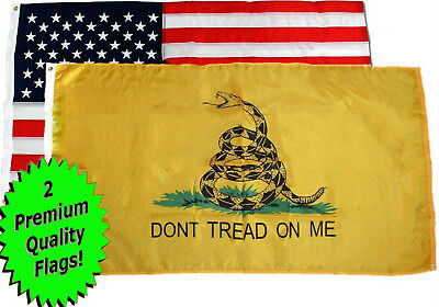 Wholesale Lot 3' X 5' USA American & Gadsden Yellow Don't Tread on Me Flag 3X5