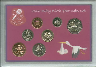Newborn Gift Set Case - New Born Baby Girl Cased Coin BU Gift Set 2000 (Parent Mum Dad Keepsake Present)
