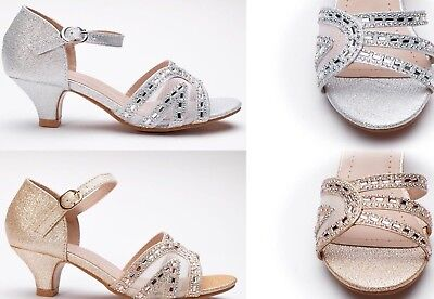 Girls Toddler & Youth Sparkly RhineStone Flower Girl Sandals Silver,Gold - Girls Flower Girl Shoes