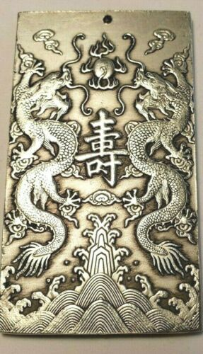 Chinese  Silver Scroll Weight Two Dragon  Paper Weight Zodiac US Seller 1452