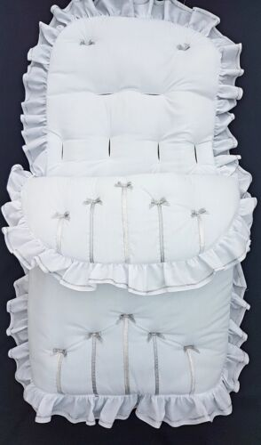 Baby Cosytoes/Footmuff  white silver  bow design