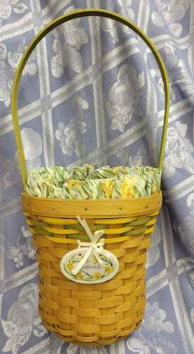 Longaberger 2008 May Series Daffodil Combo-Basket, Liner, Protector, Tie on