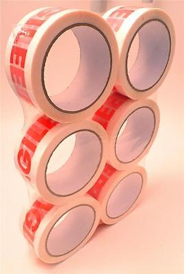 6 x Rolls Fragile Sticky Parcel Packing Packaging Tape 48mm x 66m x 3