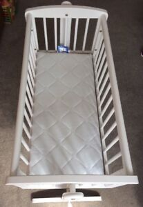 Swinging Crib With Mattress In Good Condition. Small Moving Cot Bed.