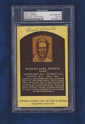 Earl Averill Cleveland Indians Baseball Autographed HOF Plaque Postcard PSA SLAB