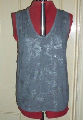 Gorgeous Fabletics size L (14/16) grey/silver jersey sleeveless low armpit top