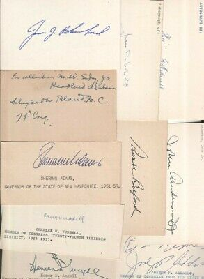 (15) Different Vintage Autographed Index Cards Deceased Rare Lot