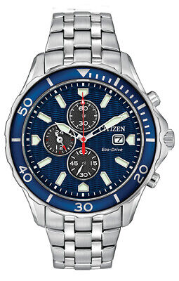 Citizen Eco-Drive Men's Blue Dial Chronograph Silver-Tone 47mm Watch CA0560-59L