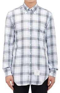 NWT Mens THOM BROWNE Blue White Plaid Flannel Shirt sz 3 L