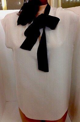 Lanvin Top Beige Silk BLK Flower And Tie Size 36 NEW $1045