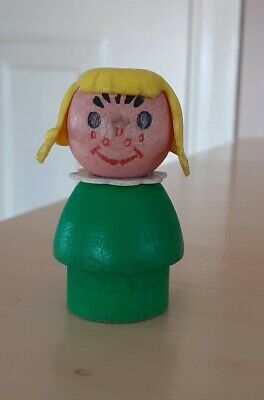 Rare HTF Vintage Fisher Price little people all wood green girl/yellow hair