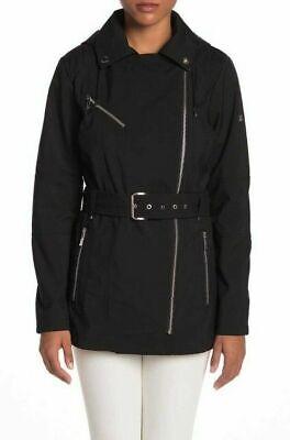 - MICHAEL Michael KORS Biker Short ASYMMETRICAL BELTED TRENCH COAT Black SZ XL New