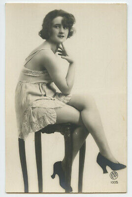 1920s Risque Nude French Deco RPPC Real Photo Postcard DECO LEGS LADY