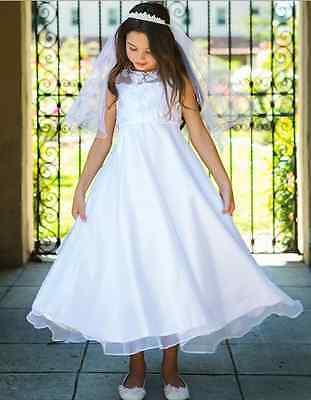 New White Flower Girls Dress First Holy Communion Wedding Pageant Easter 8031](Girls First Holy Communion Dresses)