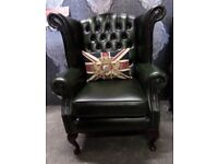 Immaculate Thomas Lloyd Chesterfield Queen Anne Wing Back Chair Green Leather WIDE - Uk Delivery