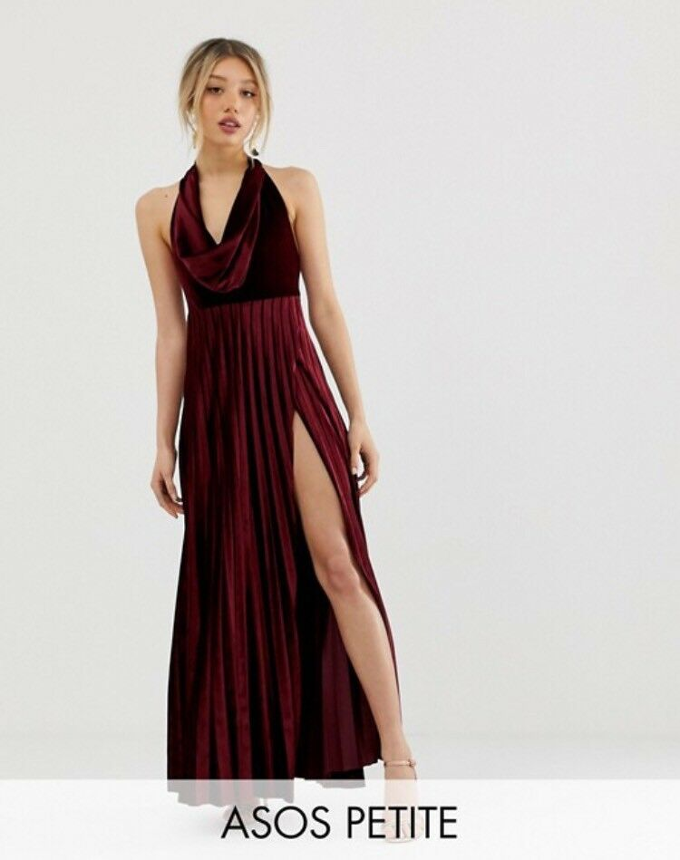Asos Petite Velvet Cowl Neck Prom Dress In Church Crookham