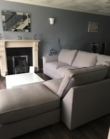 GREY CORNER SOFA AND FOOTSTOOL * 12 MONTHS OLD*