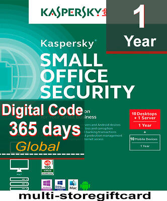 Kaspersky Small Office Security 2018 10 DESKTOPS/10 MOBILES 1 FILESERVER 1 YEAR for sale  Shipping to Nigeria