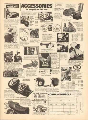 1978 Honda Mineola Motorcycle Accessories - Vintage Ad