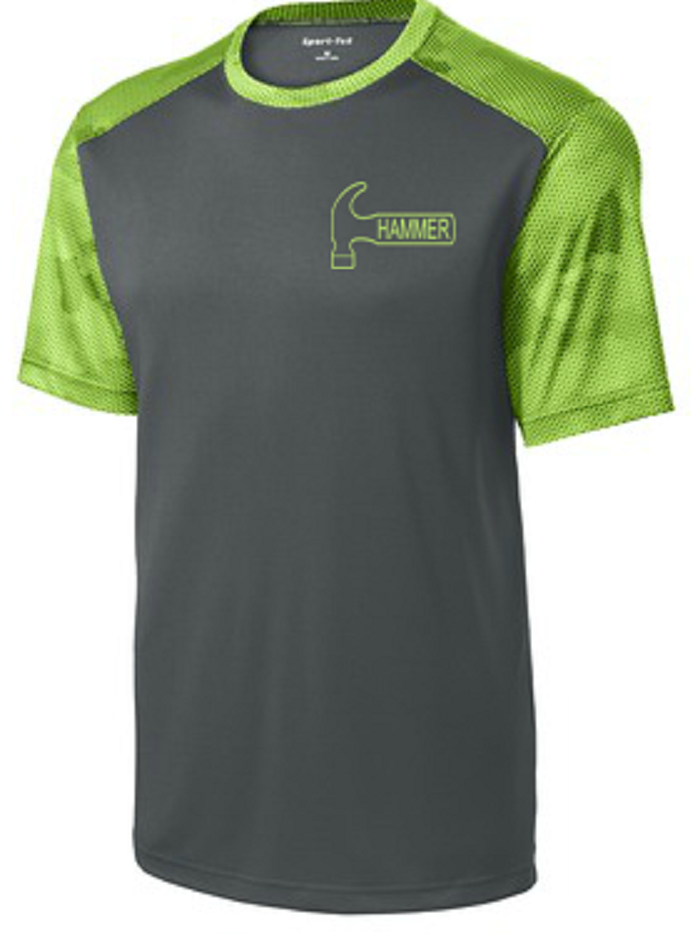Hammer Men's Camo Performance Crew Bowling Shirt Dri-fit Lime