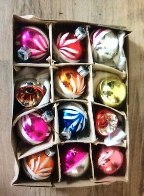 12 Vintage Glass Christmas Baubles / Concave / Christmas Decorations /