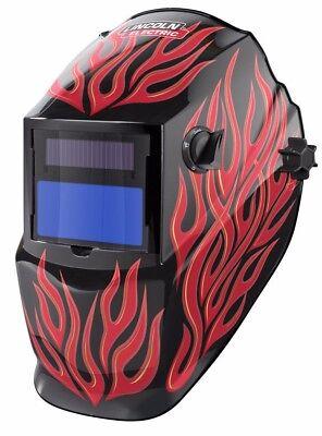 Lincoln K3446-1 Red Steel Helmet Variable Shade 9-13 Auto Darkening Lens