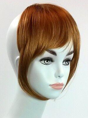 Light Auburn Hair (Clip On Bang Light Weight Fringe Hair piece Gray, Auburn, Blonde, Brown,)
