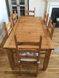 Quality Wooden Dining Table and Six Chairs - £150