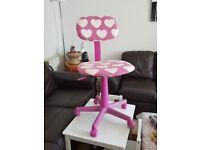 VGC Girls Hot Pink Hearts Gas Lift Office Chair