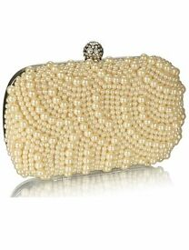 Womens Champagne Pearl Hard Case Wedding Evening Clutch bag BRAND NEW