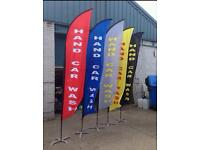Hand Car Wash 5(five) Colour Feather Flags With Pole+spikes