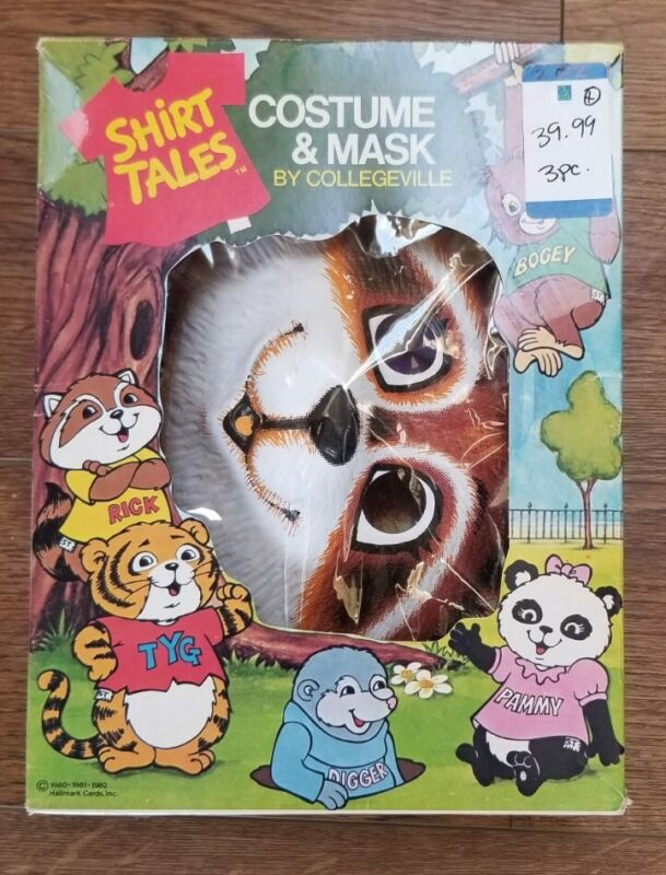 1980 SHIRT TALES: RICK THE RACOON Costume & Mask by Collegeville MEDIUM