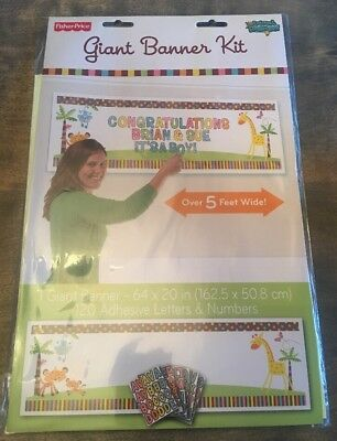 Fisher Price Baby Shower 1st Birthday Party Decor Supplies Banner Kit 5 FEET! - Fisher Price Baby Shower Party Supplies