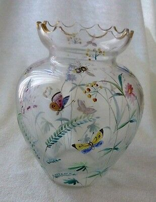 Antique French Cameo Glass Vase Enamel Painted Butterfly Flowers Bee Gilt Ormolu