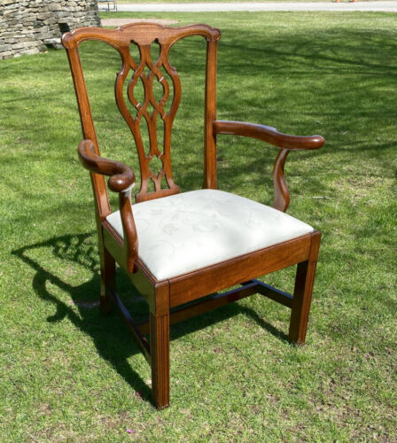 Georgian Chippendale mahogany arm chair England c 1800 slip seat cotton damask