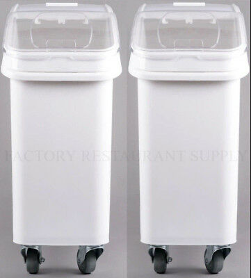 2 Pack Dry Ingredient 21 Gallon Storage Bin Caster Commercial Restaurant Kitchen