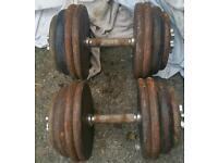 Two 35kg dumbells