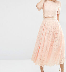 BRANDED Lace Crop Top Midi Prom Evening Dress in Nude UK 16/EU 44/US 12