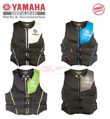 YAMAHA Men's Neoprene 2-Buckle PFD Life Jacket Vest Blue Green White Black Gray