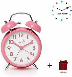 {Loud Alarm for Deep Sleepers} 4'' Twin Bell Alarm Clock with Backlight for Bedr