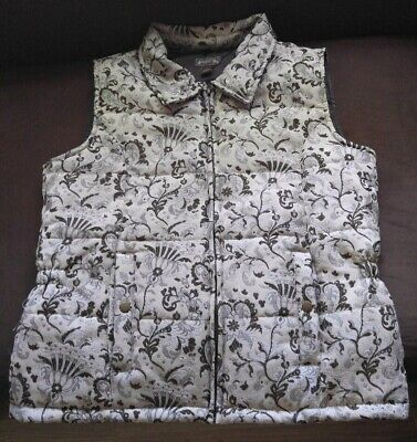 Brown Cowgirl Vest (Women's Cowgirl Up Quilted Full Zip Vest~ Size L ~Brown Cream Silver EUC)