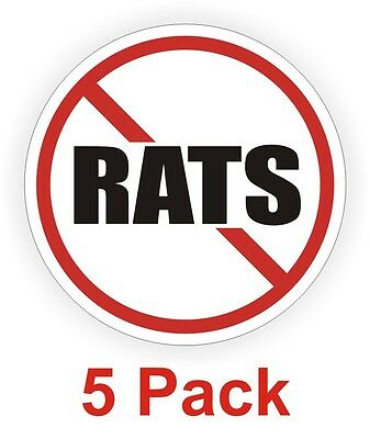 5-pack No Rats Hard Hat Decals Motorcycle Helmet Labels Vinyl Stickers Funny