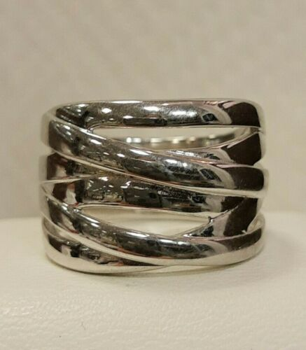 Sterling Silver Polished Crisscross Ring Size 8 MSRP $125 Size 8