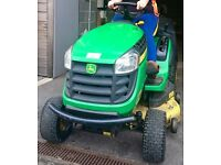 John Deere X155r Ride On Mower.. Cut and direct collect into rear manual tip box.