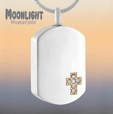 New Cross Dog Tag Crystal Cremation Urn Keepsake Ashes Memorial Necklace Crystal Dog Tag Necklace