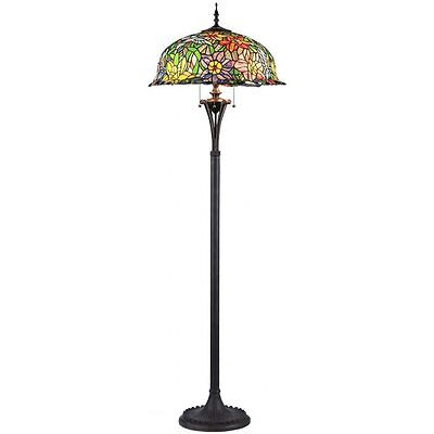 Tiffany Style 3 Light Floral Design Blue Yellow Green Red Art Glass Floor Lamp